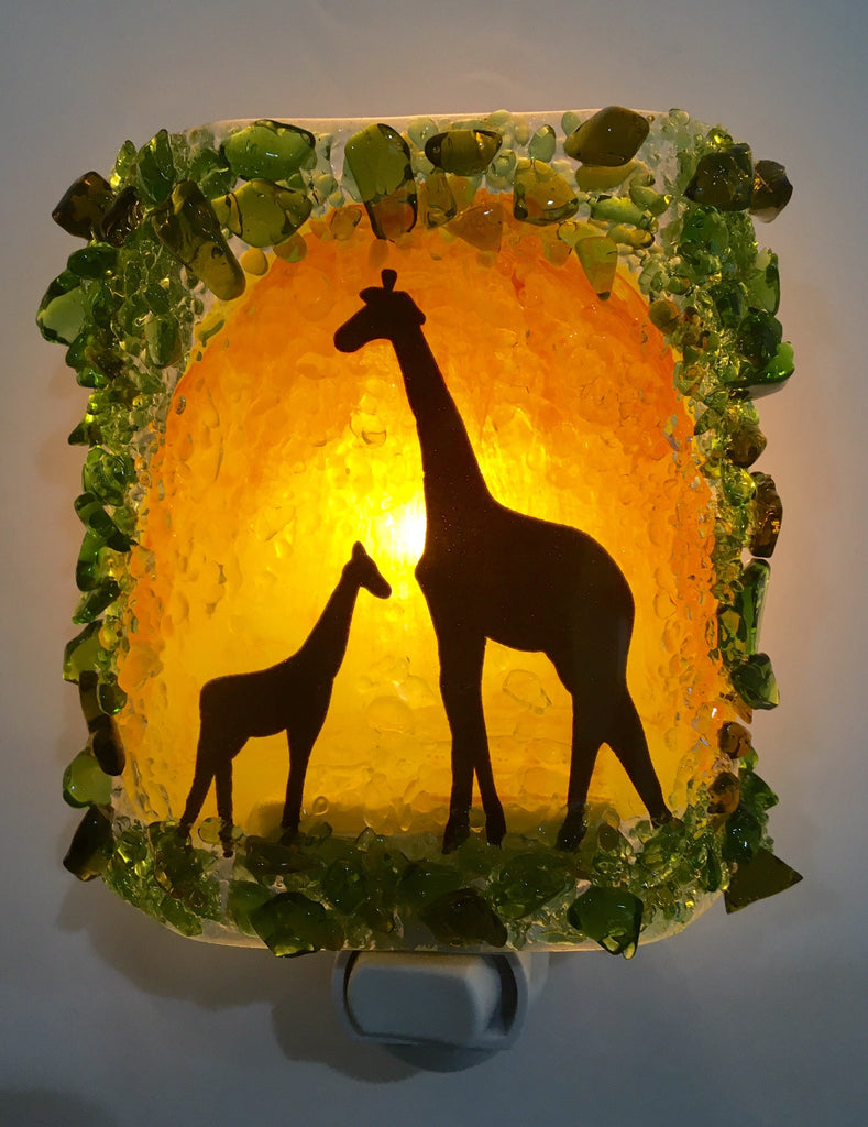 Giraffe Mom and Baby Sunset Silhouette Recycled glass Night Light - RebornGlass.com
