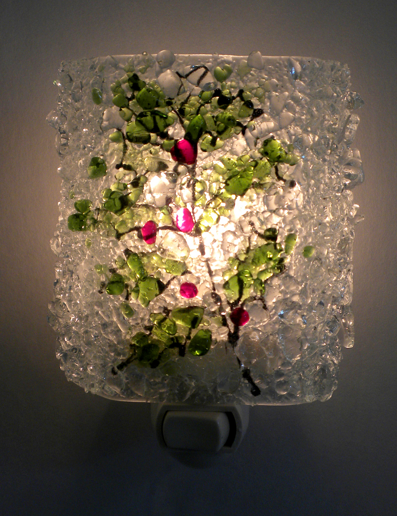 Holiday Holly Reborn Glass Night Light - RebornGlass.com