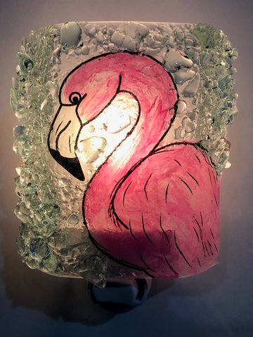 Flamingo Recycled Bottle Glass Night Light By Reborn Glass