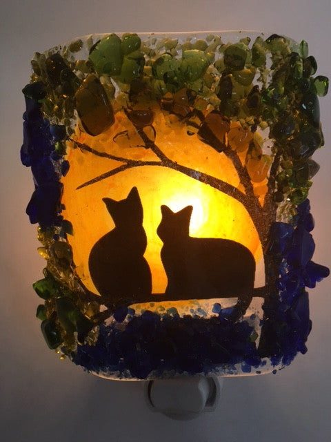 Two Cats in a Tree Night - RebornGlass.com