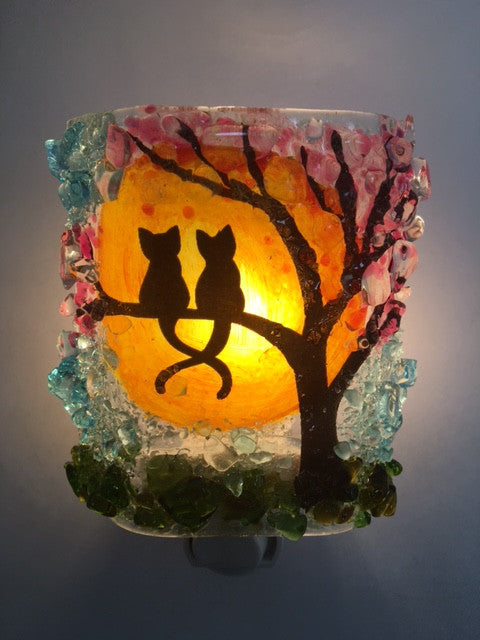 Kitties in a Spring Cherry Blossom Tree Recycled Glass Night Light - RebornGlass.com