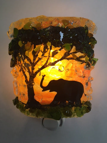 Elephant Reborn Glass Recycled Glass Night Light