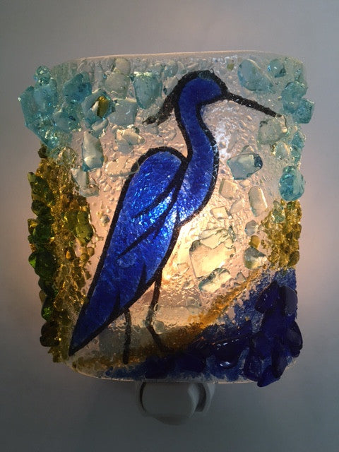 Blue Heron Night Light - RebornGlass.com