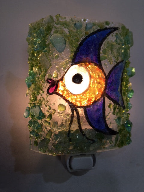 Angel Fish Recycled Glass Night Light - RebornGlass.com