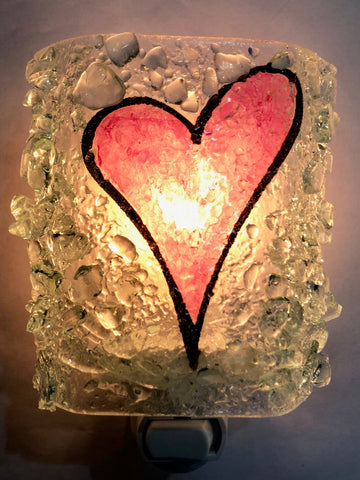 Every Beat of My Heart--Recycled Bottle Glass Heart Night Light