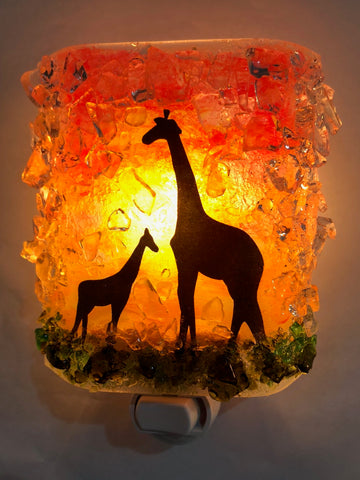 Giraffe Mom and Baby Recycled Bottle Glass Night Light