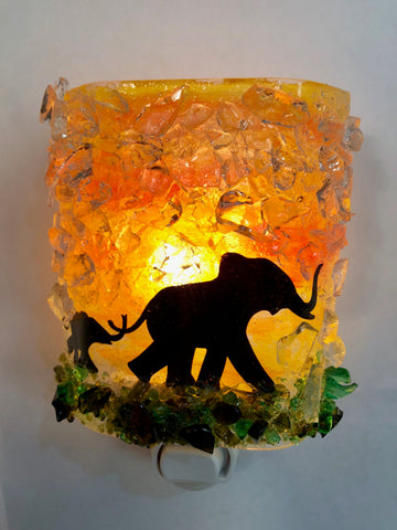 Elephant Mom and Baby Recycled Bottle Glass Night Light