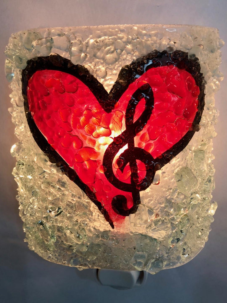 Music in My Heart Recycled Bottle Glass Night Light - RebornGlass.com