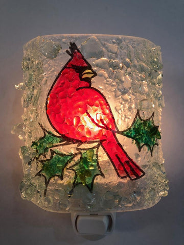 Cardinal Recycled Bottle Glass Night Light