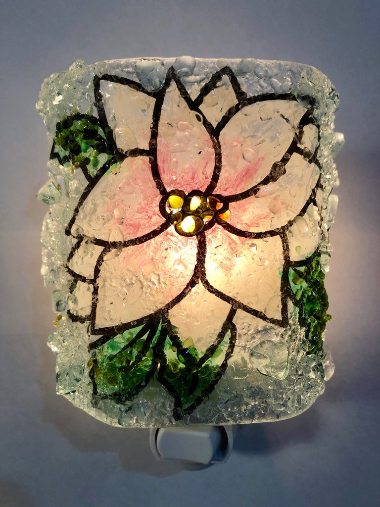 White Christmas Poinsettia Recycled Glass Night Light - RebornGlass.com