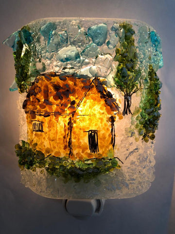 Winter Cabin in the Woods Night Light