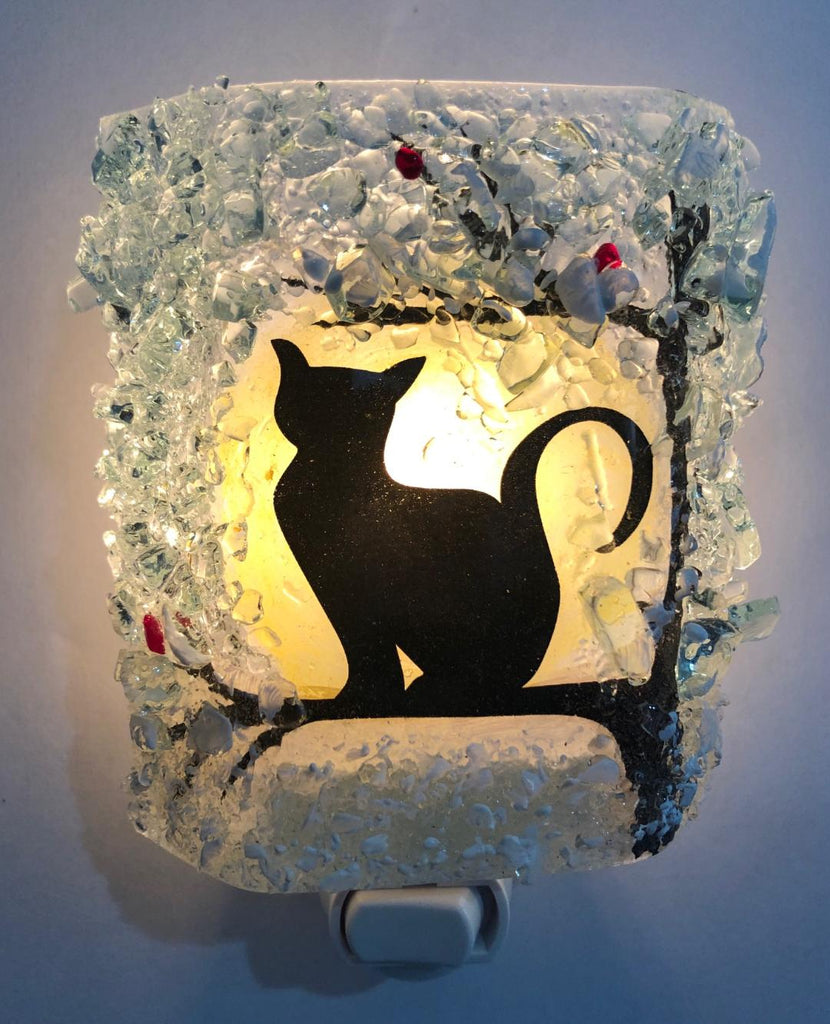 Cat In a Tree WINTER-Cardinal Reborn Glass Night Light