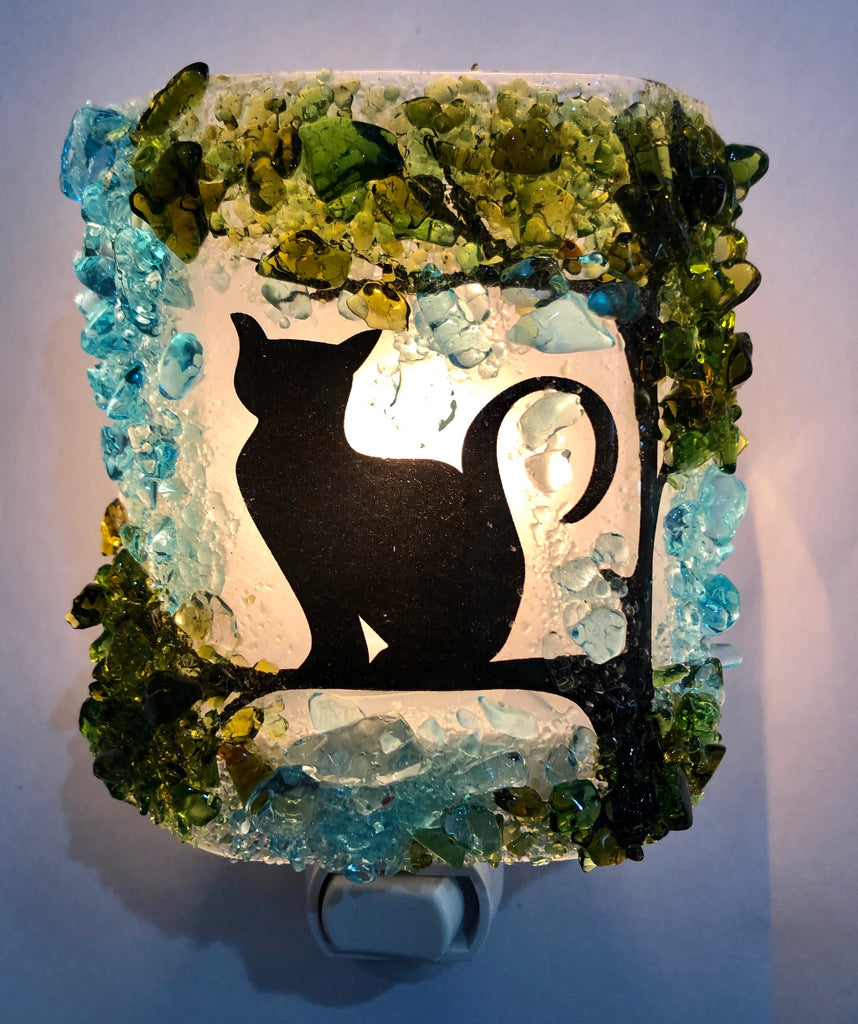 NEW Black Silhouette Kitty Cat in a Tree - RebornGlass.com