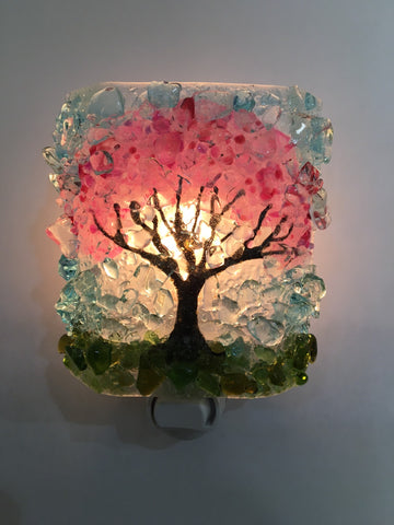Cherry Blossom Tree Recycled Bottle Glass Night Light