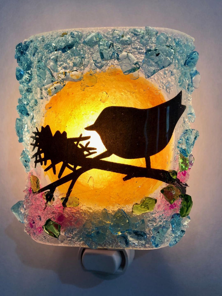 Mama Bird and Nest in Cherry Blossom Tree Recycled Glass Night Light - RebornGlass.com