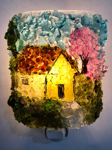 Storybook Cottage House in the Woods Recycled Glass Night Light
