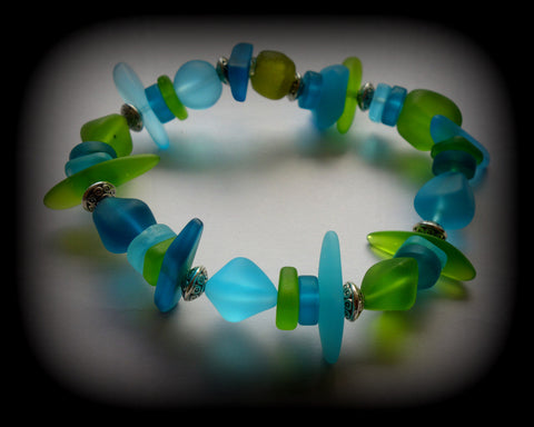 Reborn Glass Paradise Series: Sea Glass Stretch Bracelet