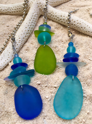 Fan-Dangle Sea Glass Fan Pull