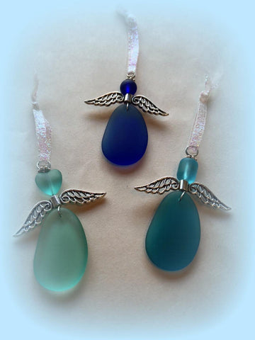 Sea Glass Angel Trio Set of 3