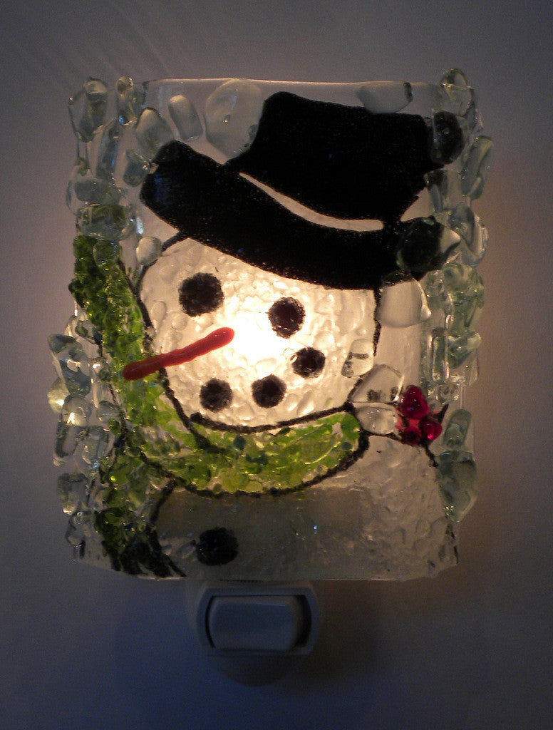 Snowman Recycled Bottle Glass Night Light - RebornGlass.com