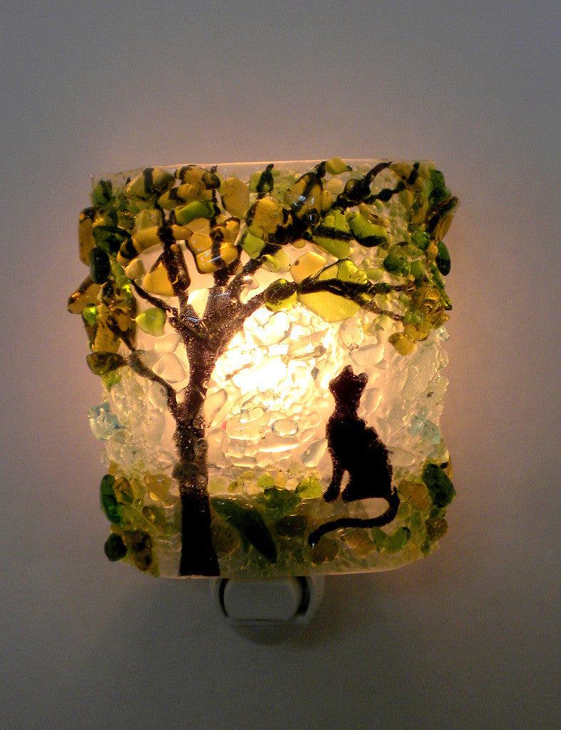 Summertime Kitty Recycled Bottle Glass Night Light - RebornGlass.com