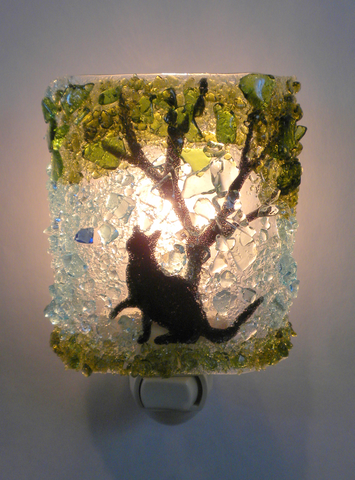 Cat Chasing Butterfly Reborn Glass Night Light