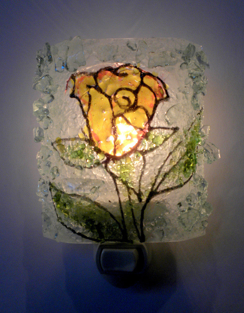 Yellow Rose Recycled Glass Night Light - RebornGlass.com