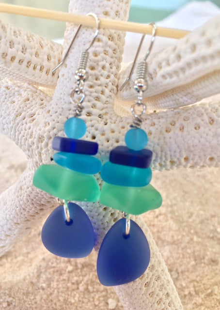 Sea Glass Earrings -  Cobalt - RebornGlass.com
