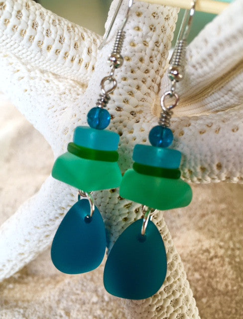 Sea Glass Earrings -  Cabo - RebornGlass.com