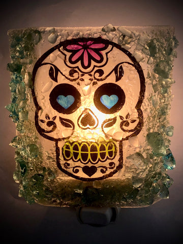 Day of the Dead Sugar Skull Halloween Recycled Glass Night Light