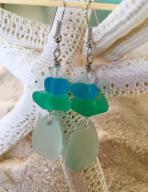 Sea Glass Earrings -  Seafoam - RebornGlass.com