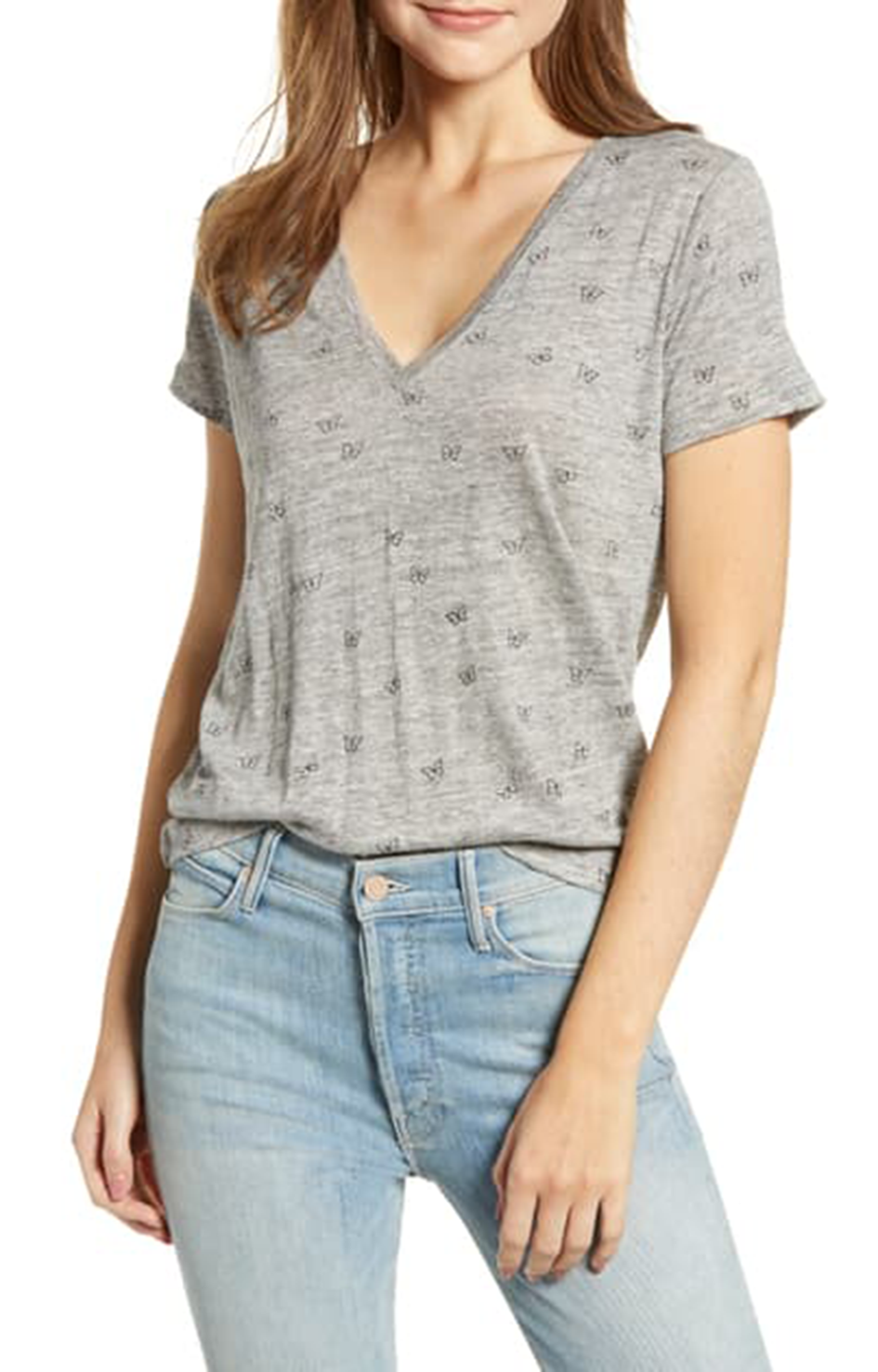 Cara Tee In Heather Grey Butterflies