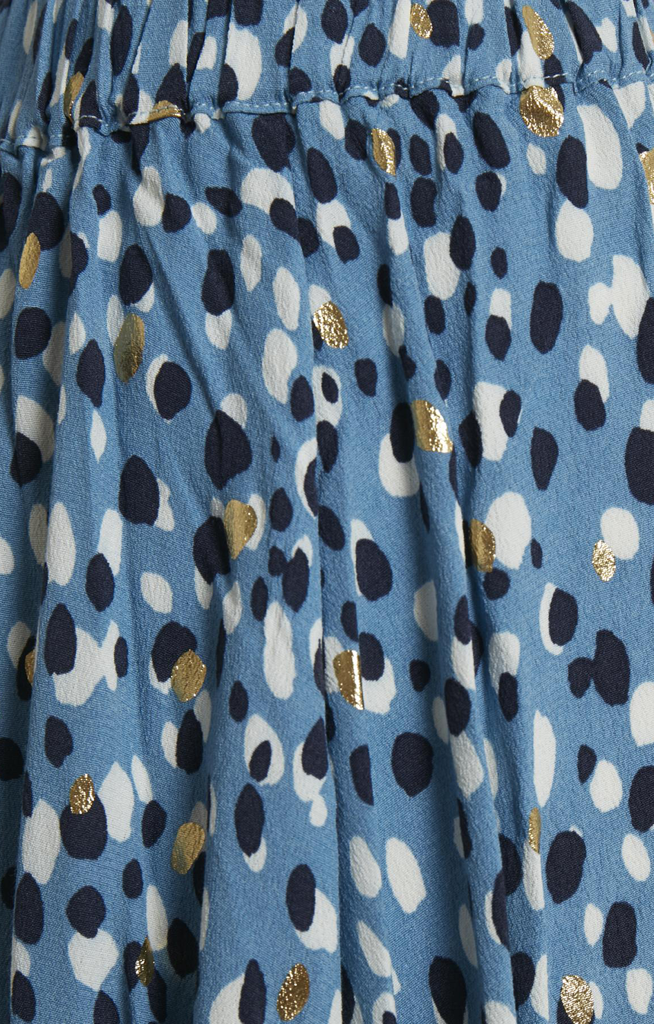 Blue Gold Dot Print