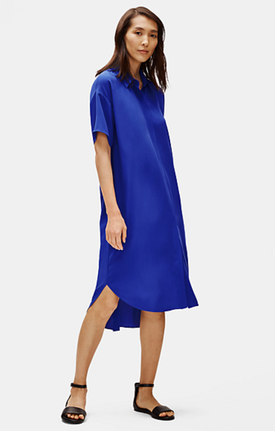 Silk Georgette Crepe Shirt Dress - Eileen Fisher