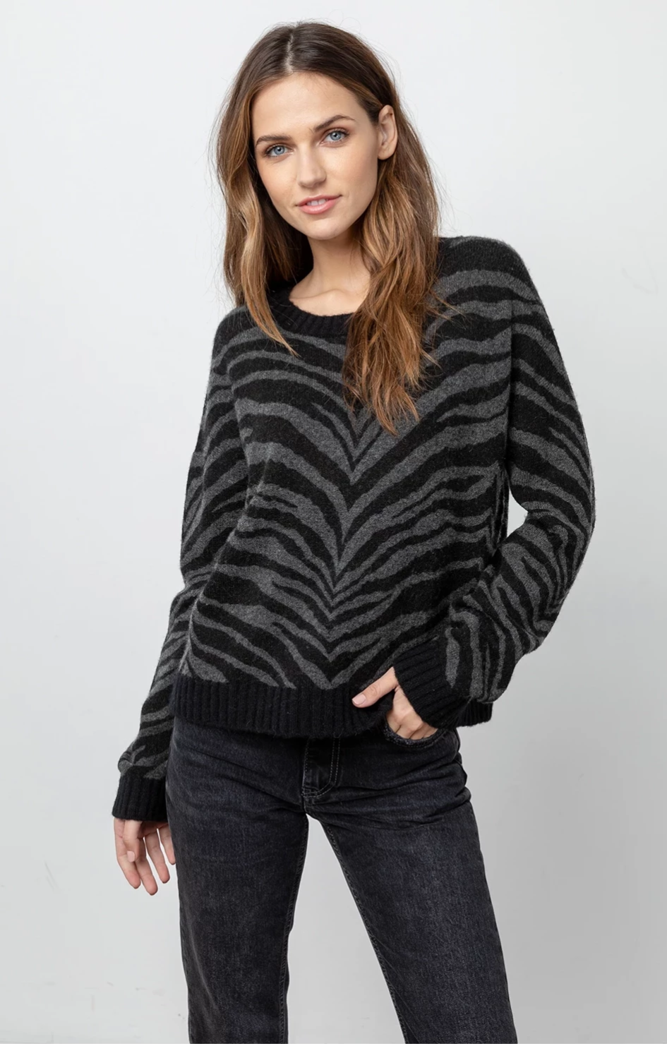 rails chance pullover charcoal tiger stripe