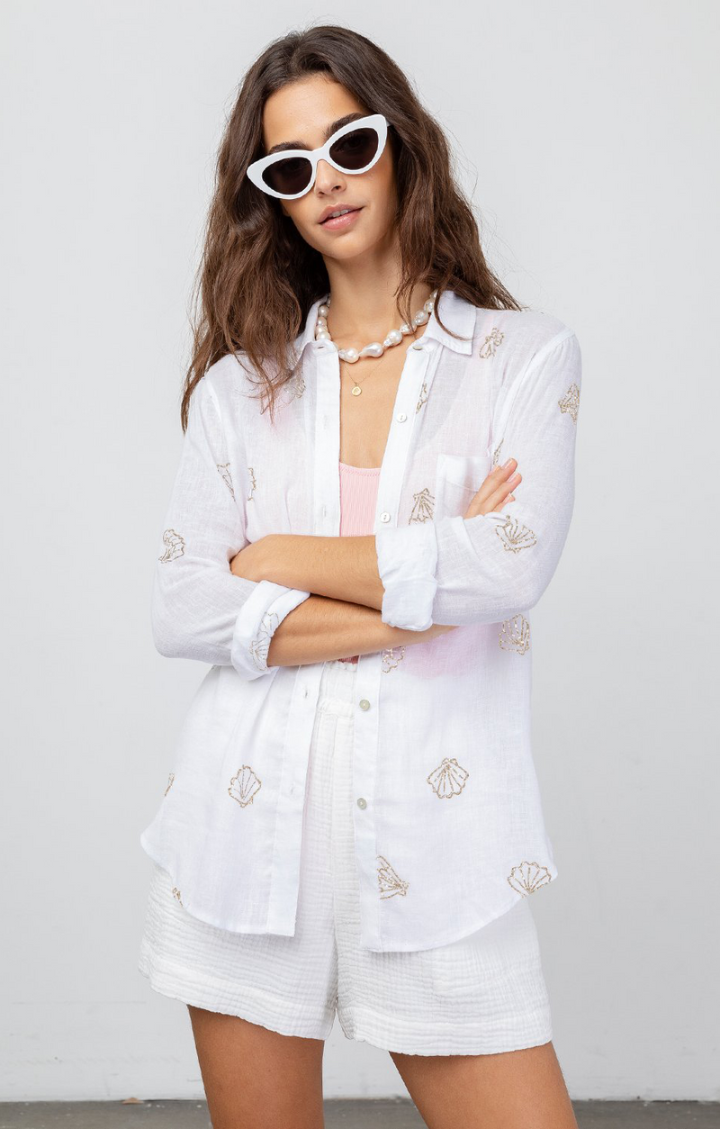 Charli Button Down In Scallop Shells