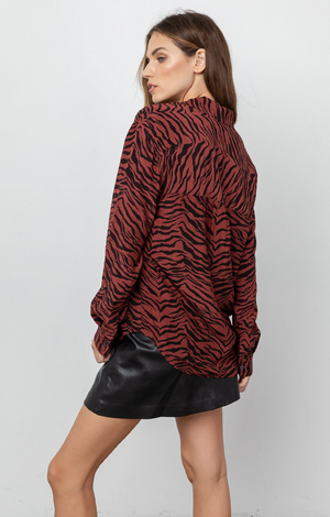 Dries Blouse  In Rust Tiger Stripe