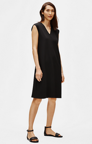 Flex Tencel Ponte V-Neck Dress - Eileen Fisher