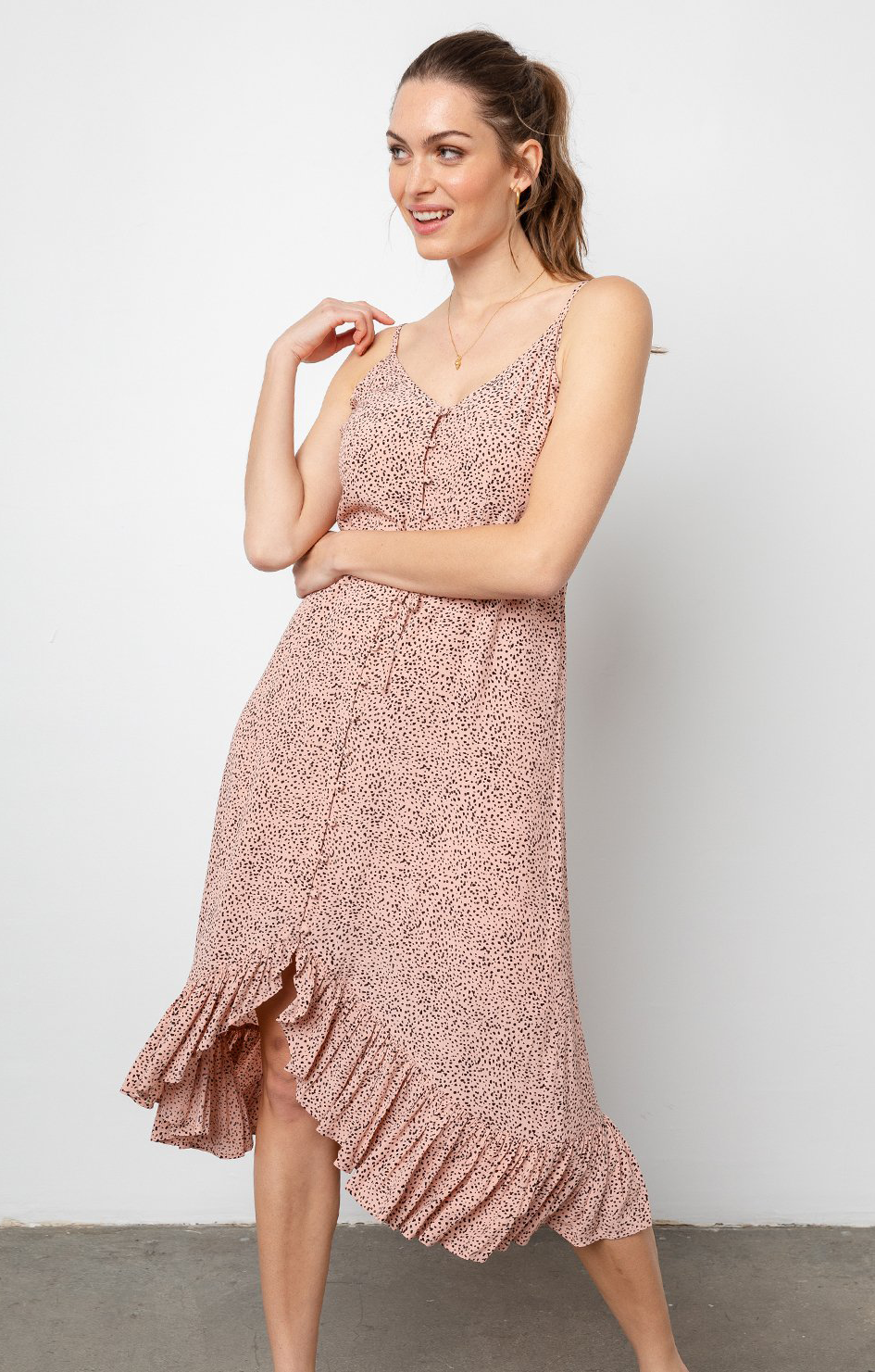Frida Dress In Rose Spotted - Rails Clothing