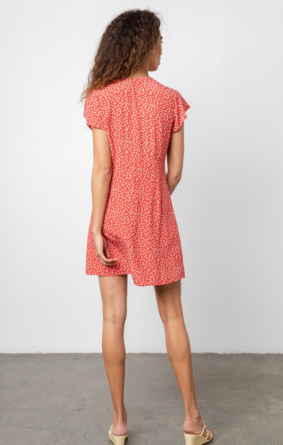 Helena Dress In Carmine Daise - Rails