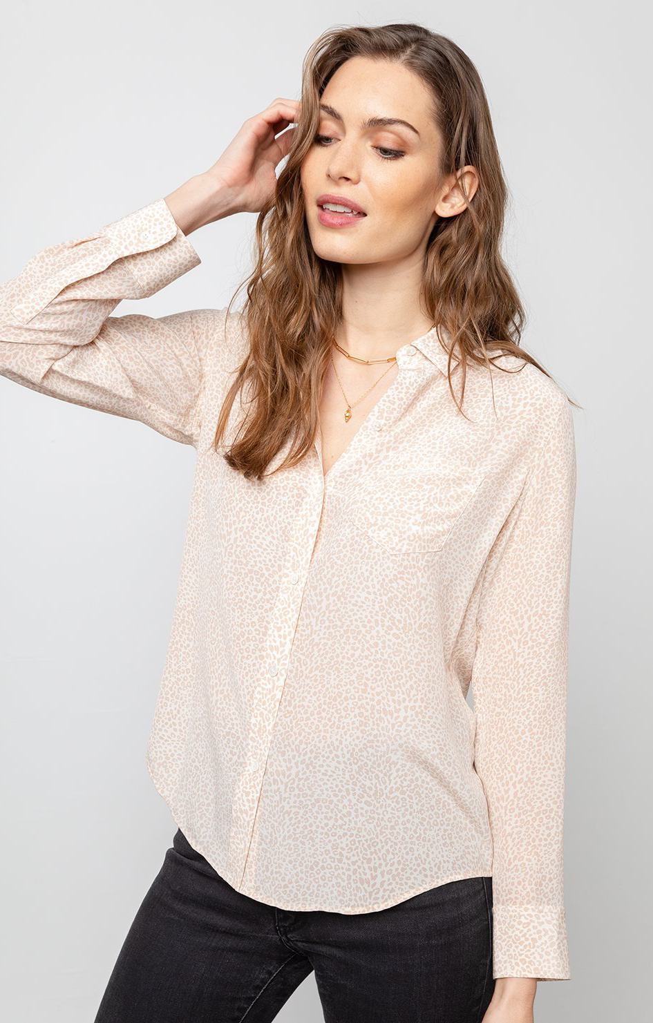 Kate Shirt White Silk Mini Cheetah - Rails Clothing