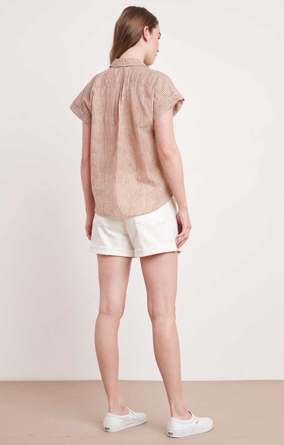 Aleta Button Down In Tan/Natural