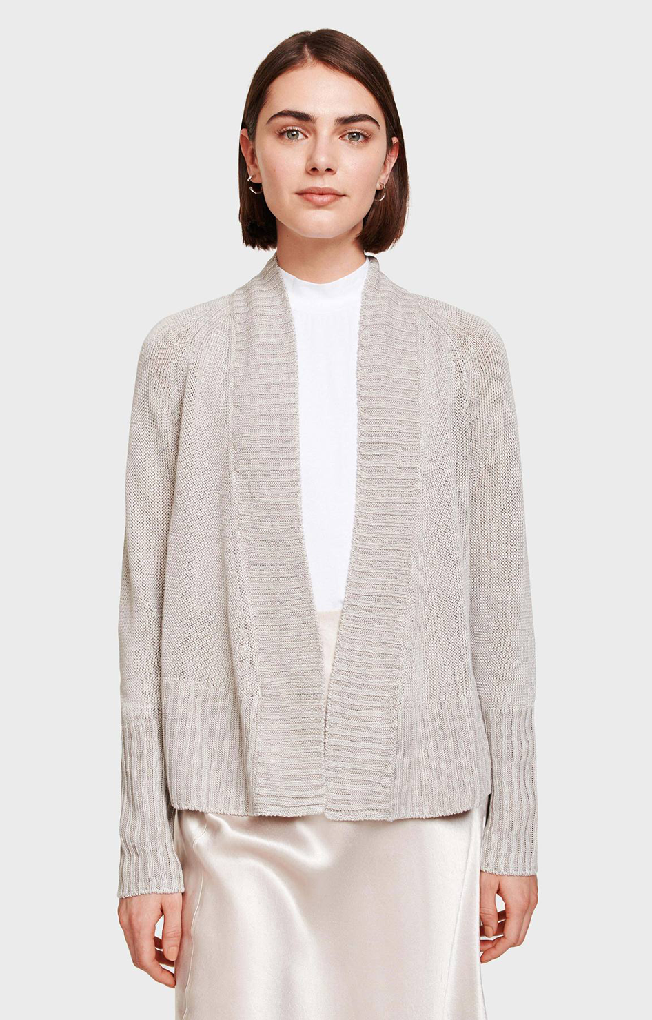 Linen Rib Placket Open Cardigan