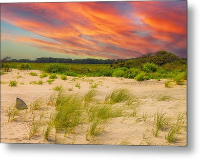 The Beautiful Sunset on the Beach - Metal Print