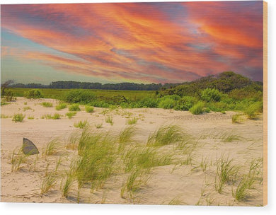The Beautiful Sunset on the Beach - Wood Print