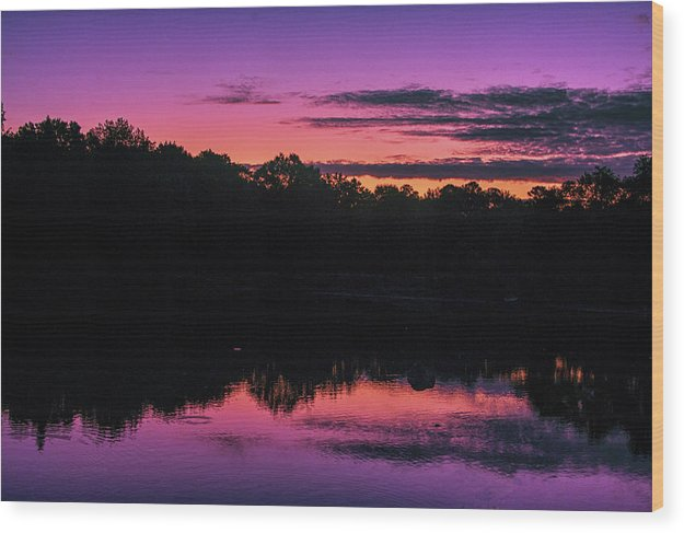 The Early Morning Sunrise Reflection - Wood Print