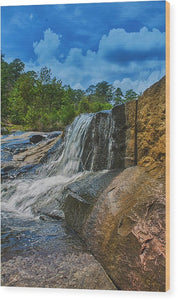 The Waterfall Wall In Hdr - Wood Print