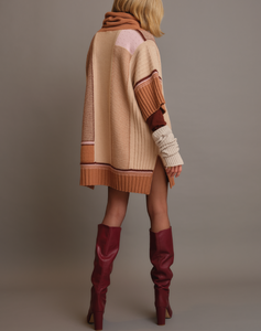 Inlaid poncho in pure cashmere