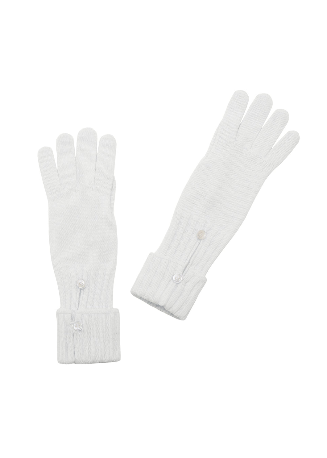 Vanilla ribbed gloves with buttons