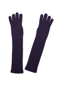 Long dark violet gloves